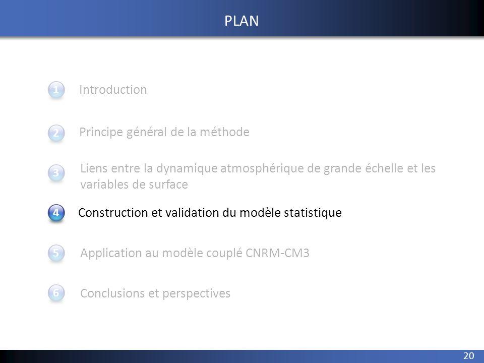 20 1 234 Introduction Principe général de la méthode Application au modèle couplé CNRM-CM3 Conclusions et perspectives 5 PLAN Construction et validati
