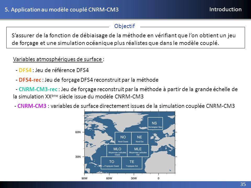 35 5. Application au modèle couplé CNRM-CM3 Introduction Variables atmosphériques de surface : - DFS4 : Jeu de référence DFS4 - DFS4-rec : Jeu de forç