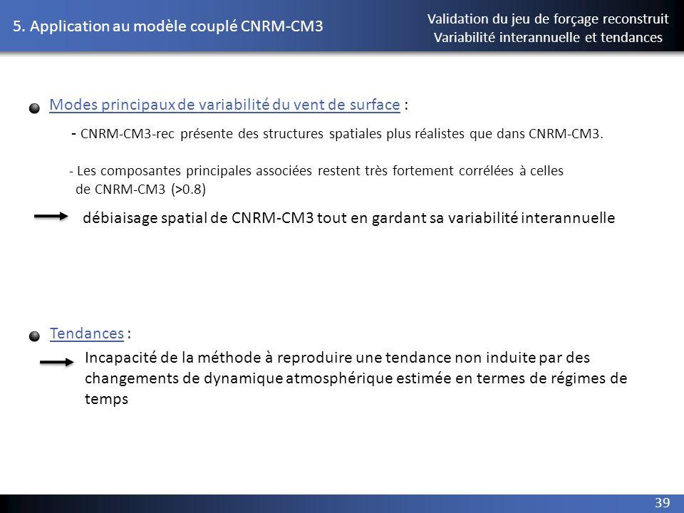 39 5. Application au modèle couplé CNRM-CM3 Validation du jeu de forçage reconstruit Variabilité interannuelle et tendances Modes principaux de variab