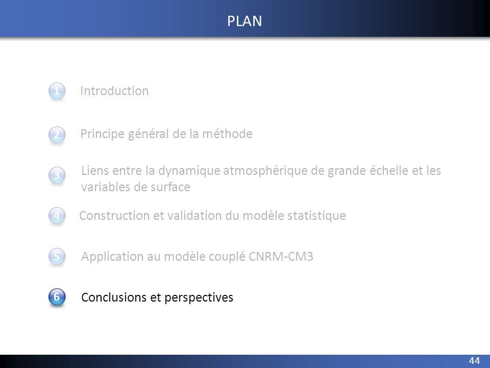 44 1 234 Introduction Principe général de la méthode Application au modèle couplé CNRM-CM3 Conclusions et perspectives 5 PLAN Construction et validati