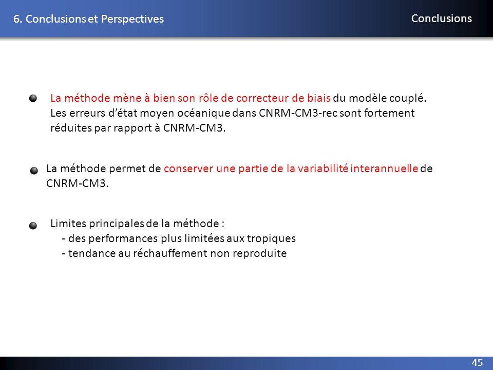 45 6. Conclusions et Perspectives Conclusions La méthode mène à bien son rôle de correcteur de biais du modèle couplé. Les erreurs détat moyen océaniq