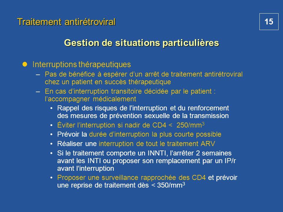 15 Interruptions thérapeutiques –Pas de bénéfice à espérer dun arrêt de traitement antirétroviral chez un patient en succès thérapeutique –En cas dint