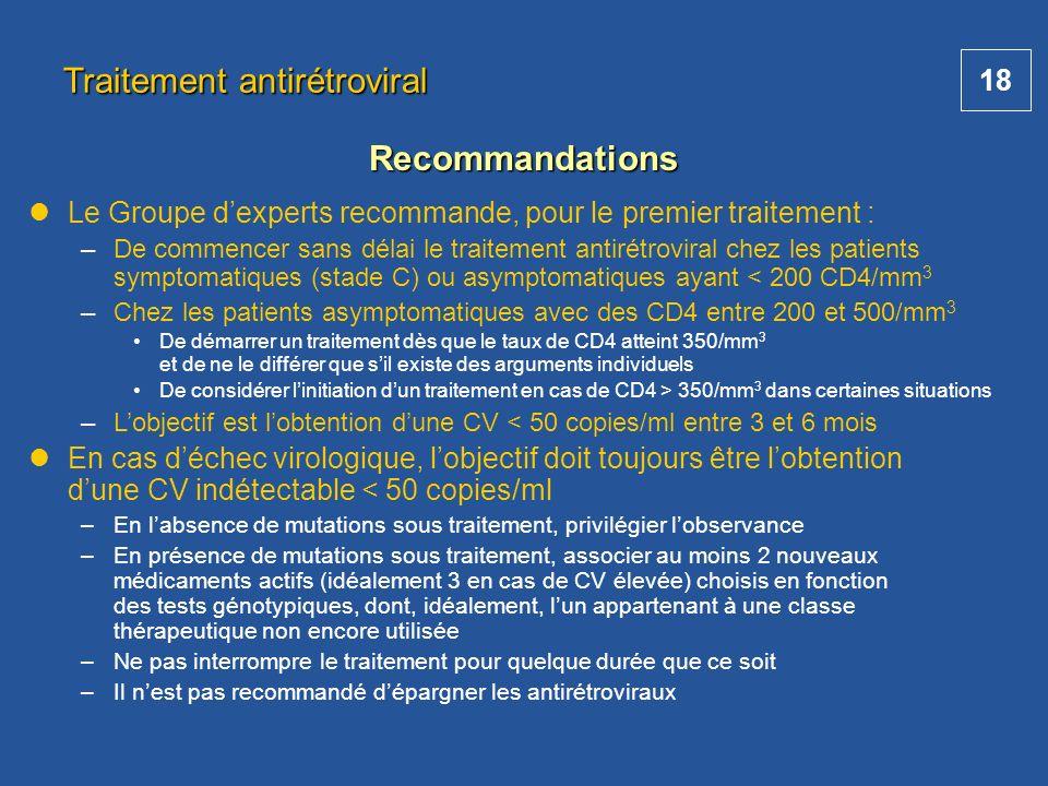 18 Traitement antirétroviral Recommandations Le Groupe dexperts recommande, pour le premier traitement : – –De commencer sans délai le traitement anti