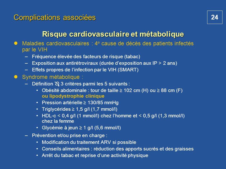 24 Maladies cardiovasculaires : 4 e cause de décès des patients infectés par le VIH –Fréquence élevée des facteurs de risque (tabac) –Exposition aux a
