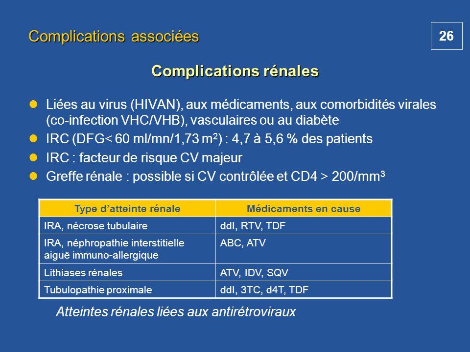 26 Liées au virus (HIVAN), aux médicaments, aux comorbidités virales (co-infection VHC/VHB), vasculaires ou au diabète IRC (DFG< 60 ml/mn/1,73 m 2 ) :