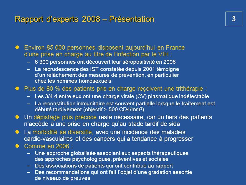 3 Rapport dexperts 2008 – Présentation Environ 85 000 personnes disposent aujourdhui en France dune prise en charge au titre de linfection par le VIH