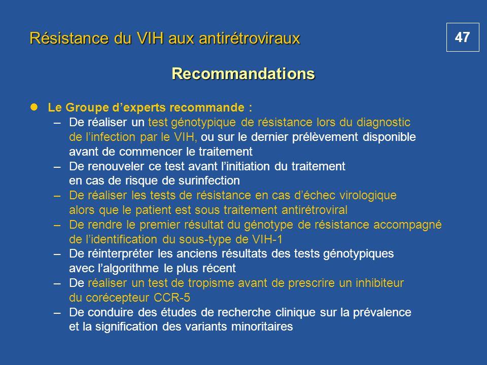 47 Le Groupe dexperts recommande : –De réaliser un test génotypique de résistance lors du diagnostic de linfection par le VIH, ou sur le dernier prélè