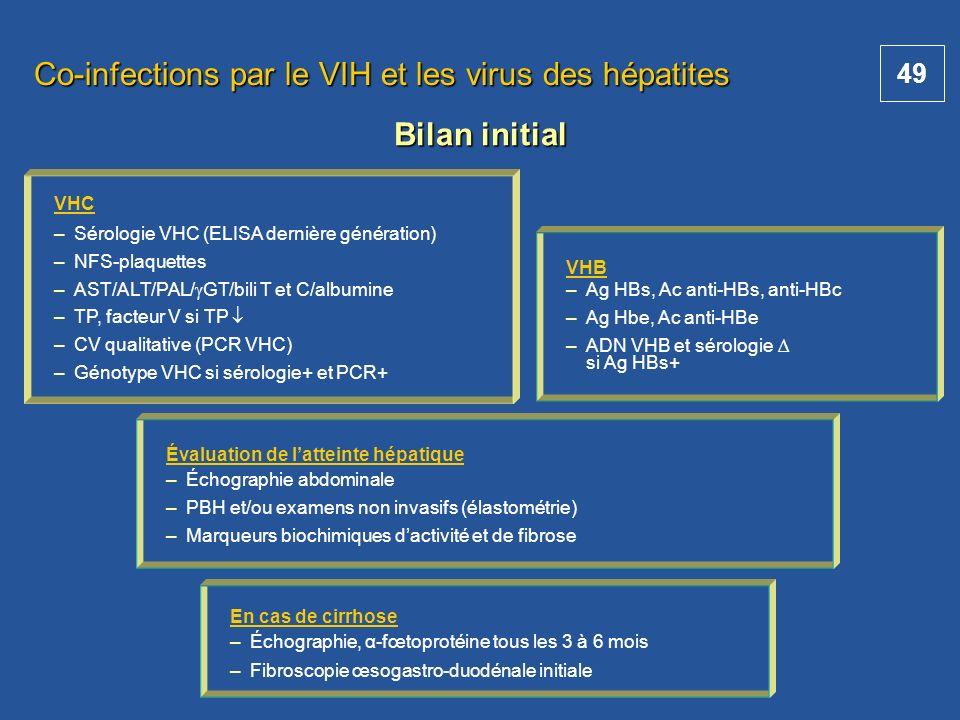 49 Co-infections par le VIH et les virus des hépatites VHC – –Sérologie VHC (ELISA dernière génération) – –NFS-plaquettes – –AST/ALT/PAL/ GT/bili T et