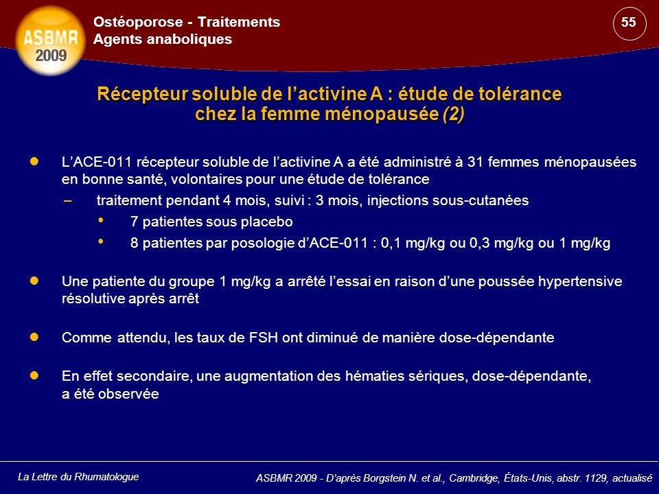 La Lettre du Rhumatologue ASBMR 2009 - Daprès Borgstein N. et al., Cambridge, États-Unis, abstr. 1129, actualisé Ostéoporose - Traitements Agents anab