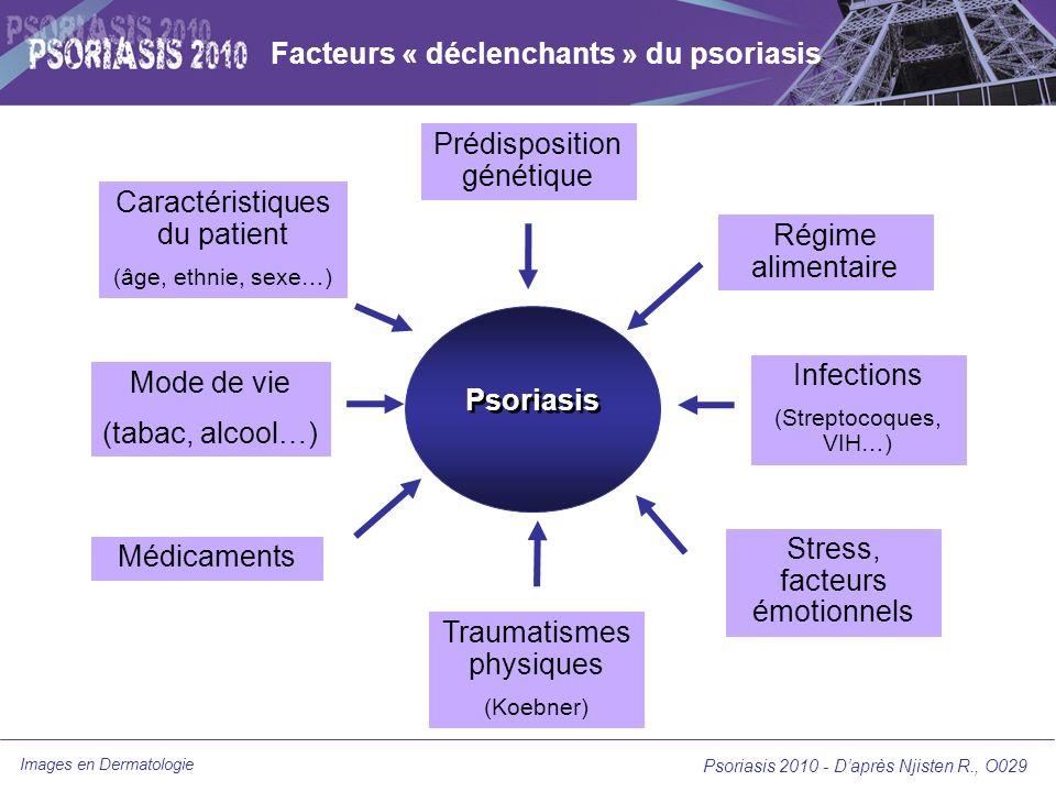 Images en Dermatologie Psoriasis 2010 - Daprès Prinz J., O026 Psoriasis 2010 - Daprès Valdimarsson H., O027 Place de lamygdalectomie dans le psoriasis chronique Lassociation entre psoriasis en goutte et infection à streptocoque bêta-hémolytique est connue –Les infections ORL peuvent être responsables dune aggravation dun psoriasis préexistant (psoriasis induit poststreptococcique) –Les patients psoriasiques présentent 10 fois plus dinfections ORL que les témoins –Rémissions rapportées de psoriasis après amygdalectomie Existence de lymphocytes T réactifs spécifiques dantigènes streptococciques avec une réponse contre des protéines du soi (kératine) par mimétisme moléculaire avec des antigènes streptococciques (protéine M) Étude prospective contrôlée islandaise sur 2 ans –30 patients avec un psoriasis chronique, avec poussées avérées après infection ORL –Pas de traitement systémique pendant les 2 mois précédents –15 amygdalectomies contre 15 contrôles –Diminution significative du PASI dans le groupe amygdalectomie (p < 0,001) mais pas du DLQI Les infections ORL à streptocoque sont un facteur possible de poussée Lamygdalectomie garde une place de choix uniquement dans les psoriasis, dont les poussées sont associées à une infection ORL