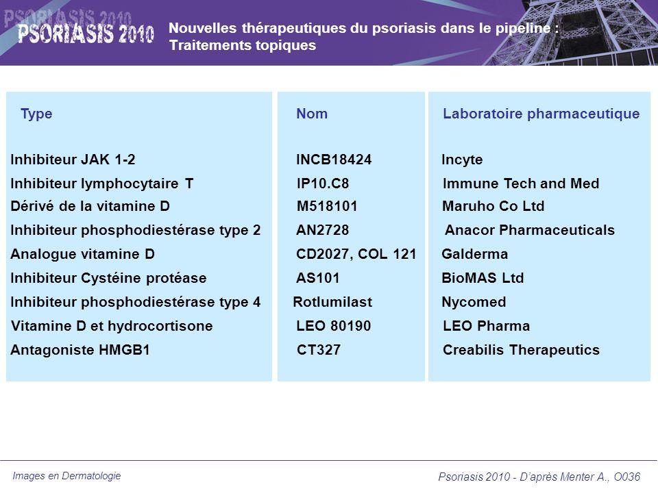 Images en Dermatologie Nouvelles thérapeutiques du psoriasis dans le pipeline : Traitements topiques Psoriasis 2010 - Daprès Menter A., O036 Type Inhi