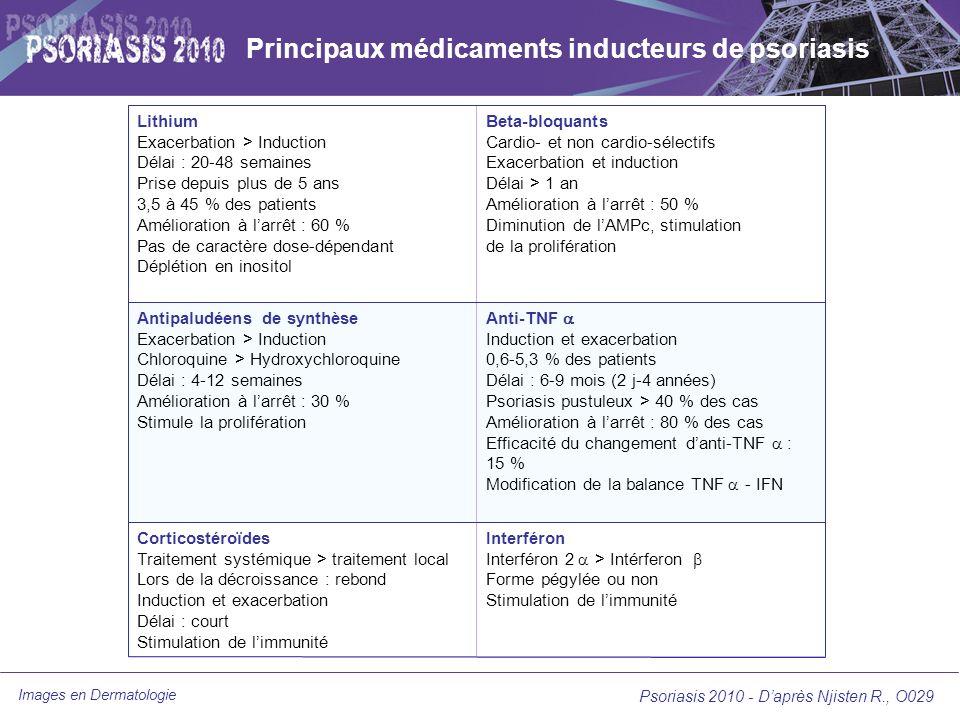 Images en Dermatologie Psoriasis 2010 - Daprès Njisten R., O029 Principaux médicaments inducteurs de psoriasis Lithium Exacerbation > Induction Délai