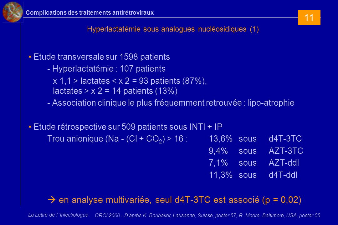 Complications des traitements antirétroviraux La Lettre de l Infectiologue Hyperlactatémie sous analogues nucléosidiques (1) Etude transversale sur 1598 patients - Hyperlactatémie : 107 patients x 1,1 > lactates x 2 = 14 patients (13%) - Association clinique le plus fréquemment retrouvée : lipo-atrophie Etude rétrospective sur 509 patients sous INTI + IP Trou anionique (Na - (Cl + CO 2 ) > 16 : 13,6% sous d4T-3TC 9,4% sous AZT-3TC 7,1% sous AZT-ddI 11,3% sous d4T-ddI en analyse multivariée, seul d4T-3TC est associé (p = 0,02) CROI 2000 - D après K.