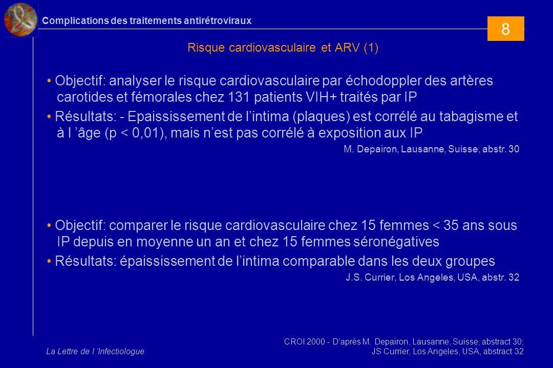 Complications des traitements antirétroviraux La Lettre de l Infectiologue Risque cardiovasculaire et ARV (1) Objectif: analyser le risque cardiovascu