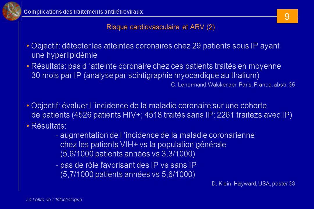 Complications des traitements antirétroviraux La Lettre de l Infectiologue Risque cardiovasculaire et ARV (2) Objectif: détecter les atteintes coronai