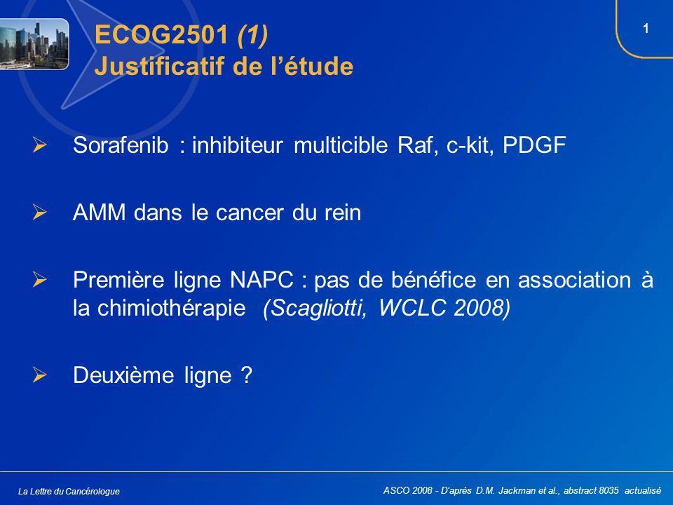 1 La Lettre du Cancérologue ECOG2501 (1) Justificatif de létude Sorafenib : inhibiteur multicible Raf, c-kit, PDGF AMM dans le cancer du rein Première ligne NAPC : pas de bénéfice en association à la chimiothérapie (Scagliotti, WCLC 2008) Deuxième ligne .