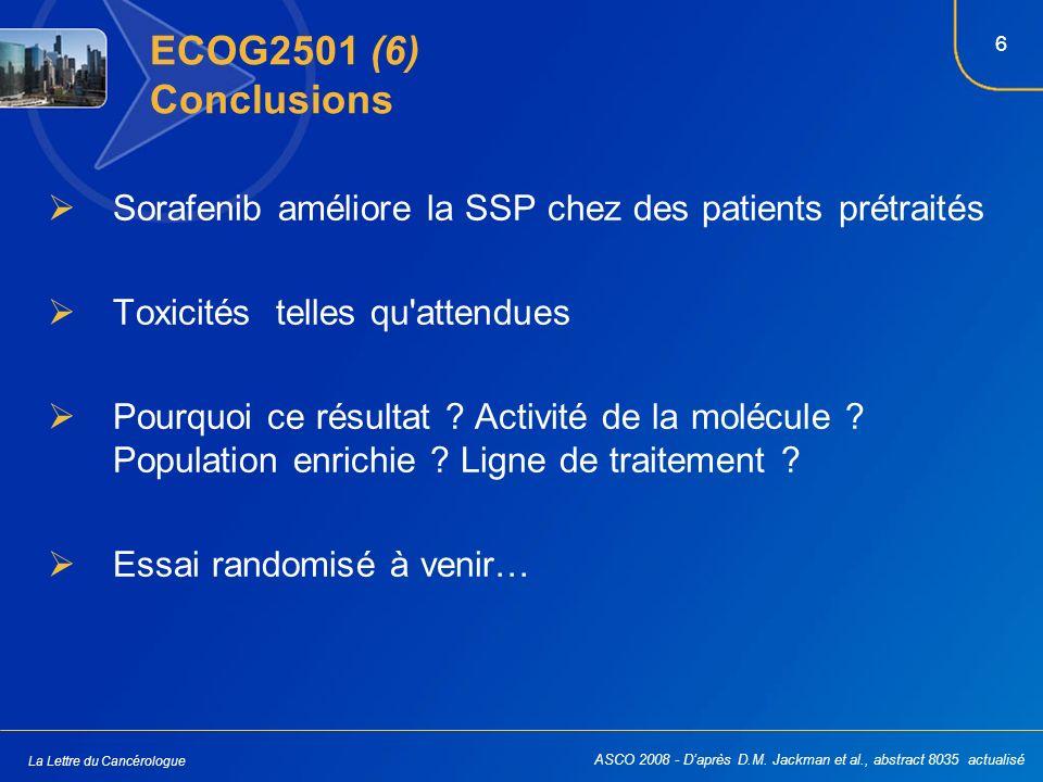 6 La Lettre du Cancérologue ECOG2501 (6) Conclusions Sorafenib améliore la SSP chez des patients prétraités Toxicités telles qu'attendues Pourquoi ce