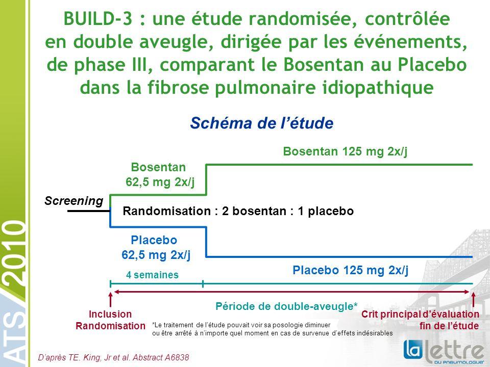 BUILD-3 : une étude randomisée, contrôlée en double aveugle, dirigée par les événements, de phase III, comparant le Bosentan au Placebo dans la fibros