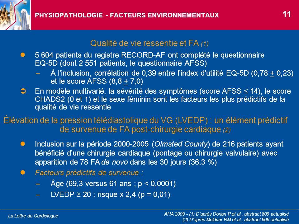 La Lettre du Cardiologue AHA 2009 - (1) Daprès Dorian P et al., abstract 809 actualisé (2) Daprès Melduni RM et al., abstract 808 actualisé PHYSIOPATH