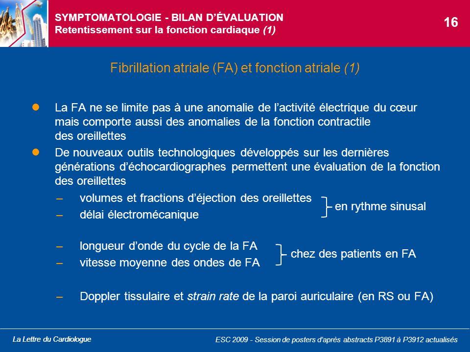La Lettre du Cardiologue SYMPTOMATOLOGIE - BILAN DÉVALUATION Retentissement sur la fonction cardiaque (1) La FA ne se limite pas à une anomalie de lac