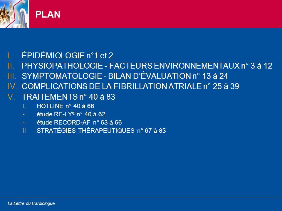 La Lettre du Cardiologue AHA 2009 - Daprès Grimm R et al., abstract 508 actualisé SYMPTOMATOLOGIE - BILAN DÉVALUATION Échocardiographie-Doppler dans la FA 1.Fonction longitudinale du VG comme mécanisme explicatif de lamélioration de la fonction cardiaque après isolation des veines pulmonaires 2.Rigidité de lOG et récidive de FA après une isolation des veines pulmonaires 3.Ratio E/e dans la FA prédictif des évènements cardiaques 4.Volume de lOG associé aux biomarqueurs cardiaques 5.Fonction (et volume) de lOG prédictive du 1 er épisode de FA Les paramètres de demain .