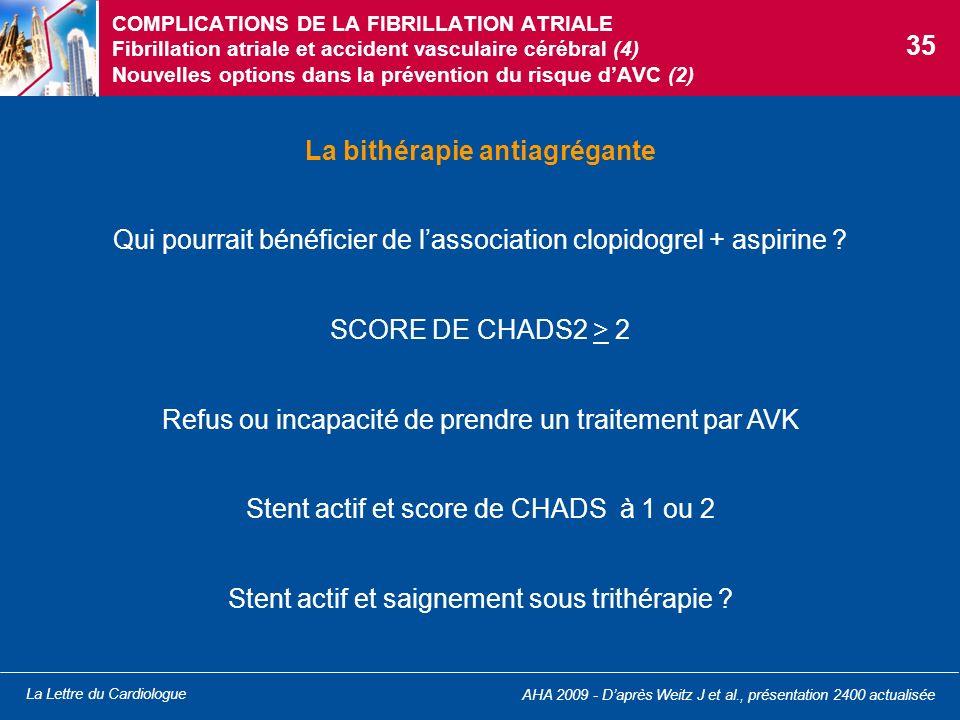 La Lettre du Cardiologue COMPLICATIONS DE LA FIBRILLATION ATRIALE Fibrillation atriale et accident vasculaire cérébral (4) Nouvelles options dans la p
