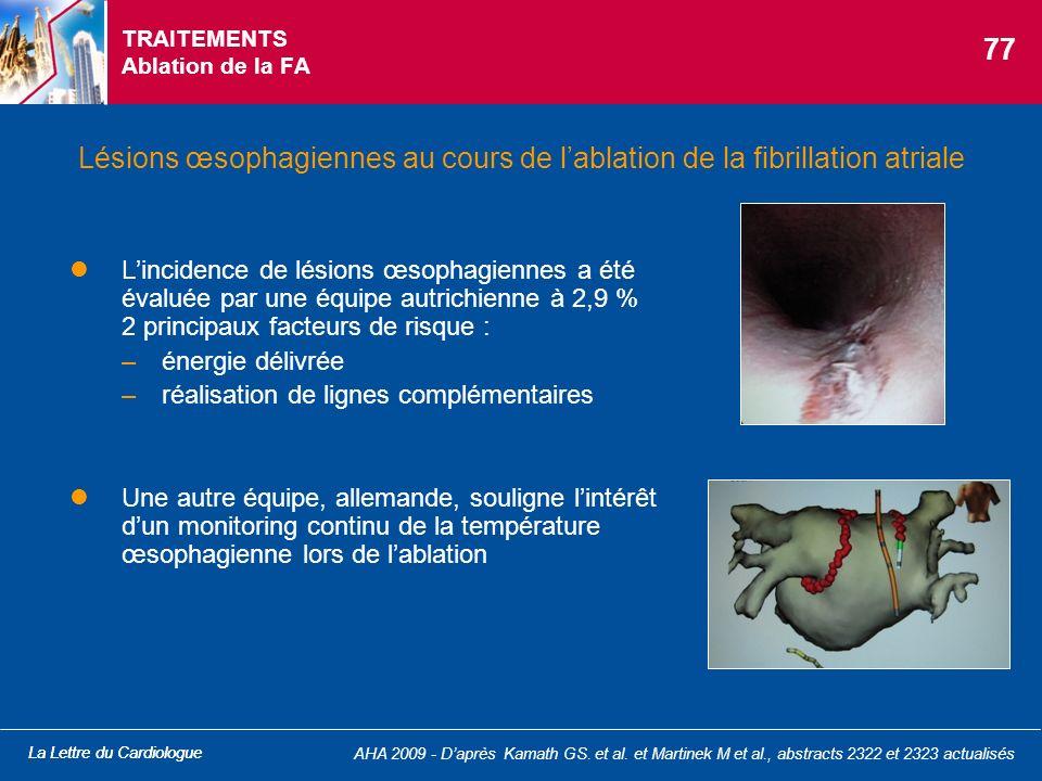 La Lettre du Cardiologue AHA 2009 - Daprès Kamath GS. et al. et Martinek M et al., abstracts 2322 et 2323 actualisés TRAITEMENTS Ablation de la FA Lin