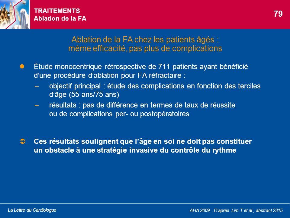 La Lettre du Cardiologue AHA 2009 - Daprès Lim T et al., abstract 2315 TRAITEMENTS Ablation de la FA Étude monocentrique rétrospective de 711 patients