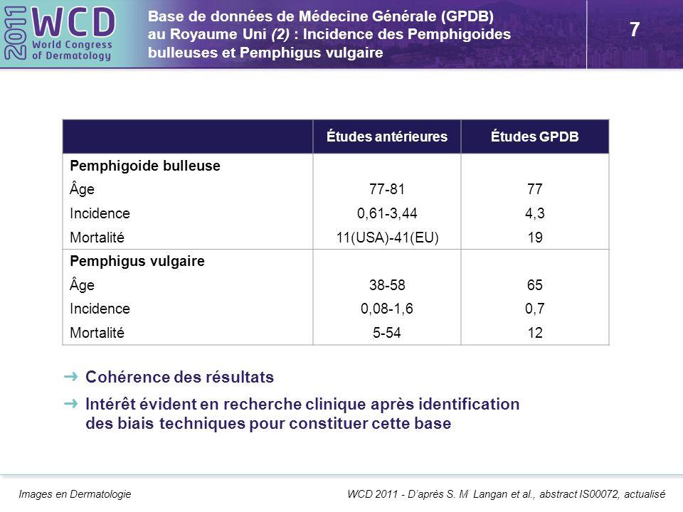 7 Base de données de Médecine Générale (GPDB) au Royaume Uni (2) : Incidence des Pemphigoides bulleuses et Pemphigus vulgaire Images en Dermatologie W