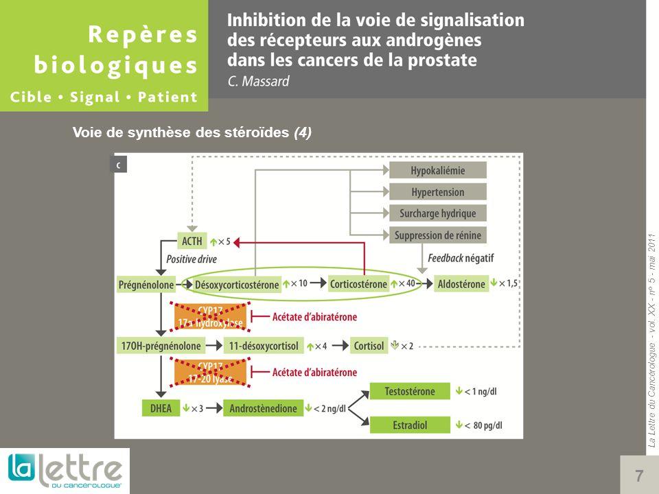 La Lettre du Cancérologue - vol. XX - n° 5 - mai 2011 8 Voie de synthèse des stéroïdes (5)