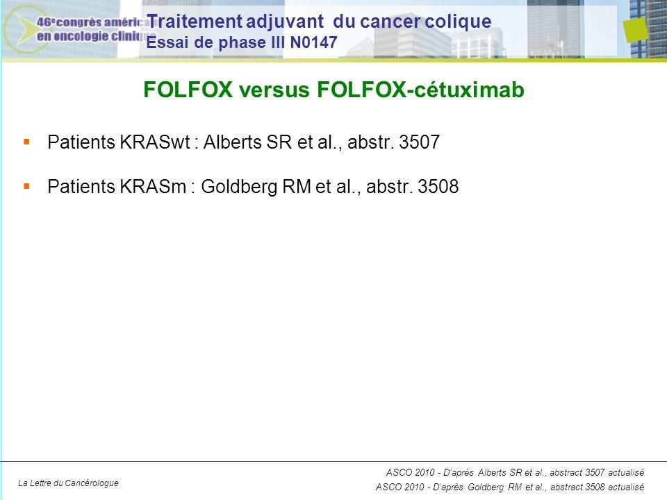 La Lettre du Cancérologue Traitement adjuvant du cancer colique Essai de phase III N0147 Patients KRASwt : Alberts SR et al., abstr. 3507 Patients KRA