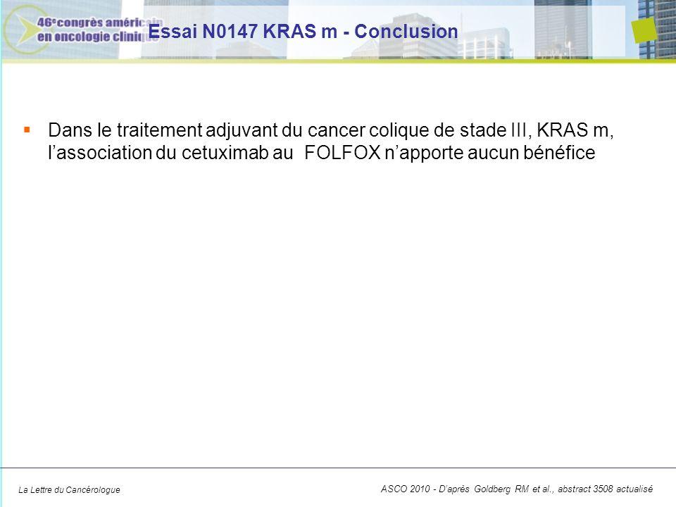 La Lettre du Cancérologue Essai N0147 KRAS m - Conclusion Dans le traitement adjuvant du cancer colique de stade III, KRAS m, lassociation du cetuximab au FOLFOX napporte aucun bénéfice ASCO 2010 - Daprès Goldberg RM et al., abstract 3508 actualisé