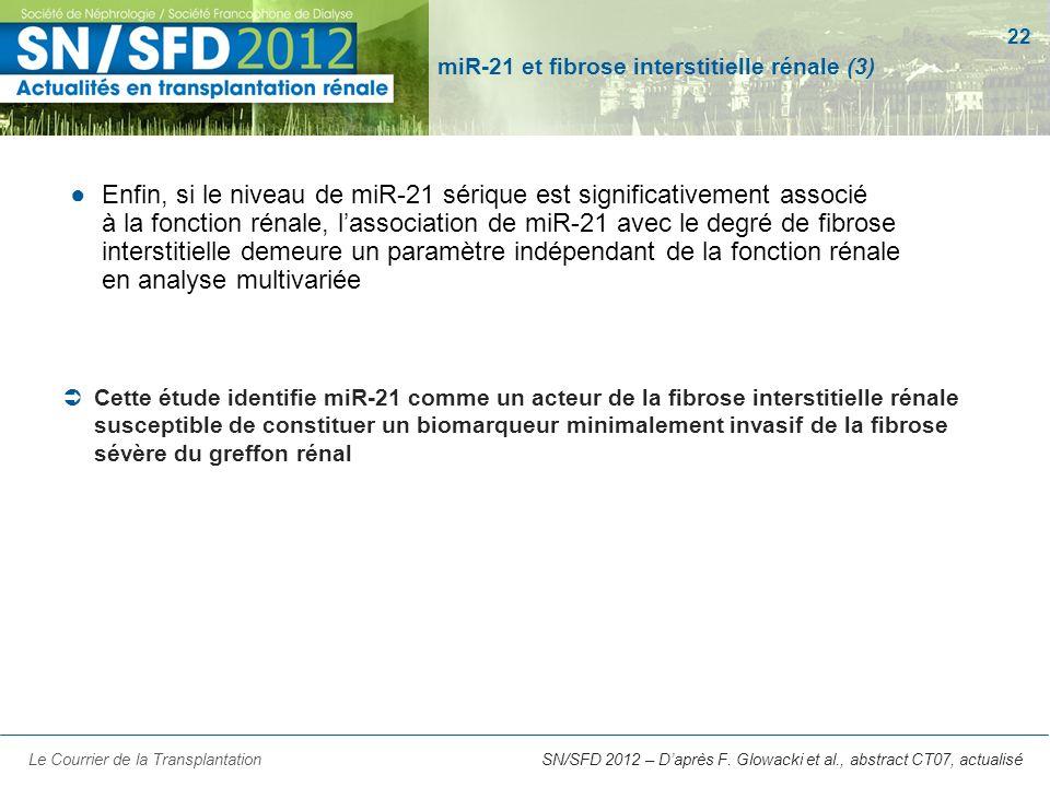 22 SN/SFD 2012 – Daprès F. Glowacki et al., abstract CT07, actualisé miR-21 et fibrose interstitielle rénale (3) Enfin, si le niveau de miR-21 sérique