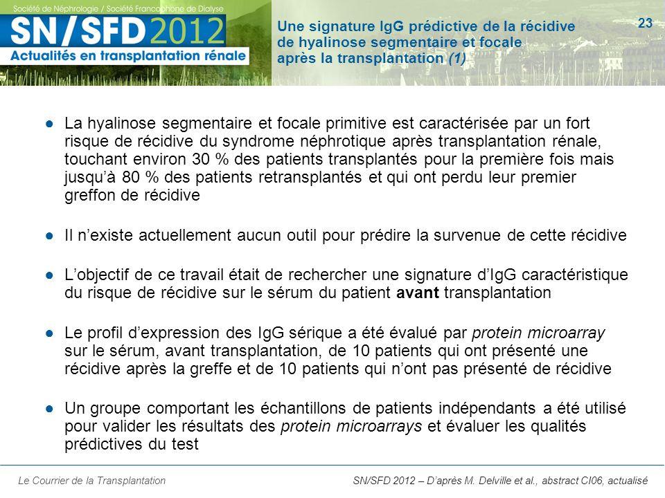 23 SN/SFD 2012 – Daprès M. Delville et al., abstract CI06, actualisé Une signature IgG prédictive de la récidive de hyalinose segmentaire et focale ap