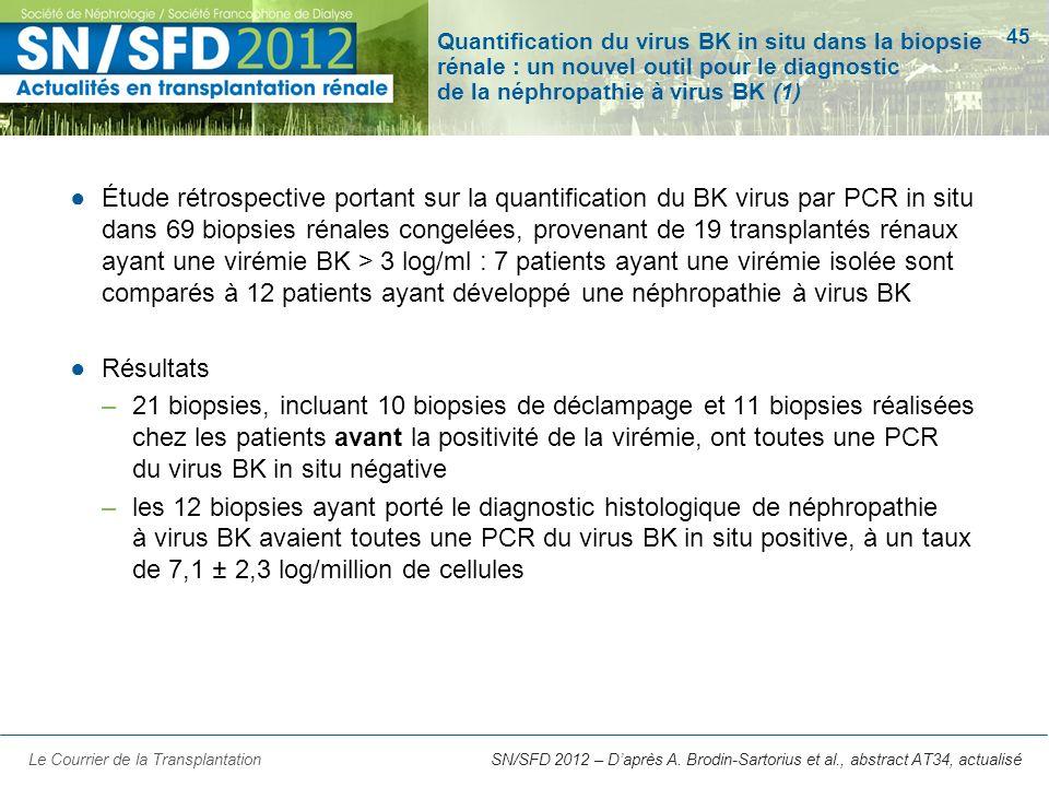 45 SN/SFD 2012 – Daprès A. Brodin-Sartorius et al., abstract AT34, actualisé Quantification du virus BK in situ dans la biopsie rénale : un nouvel out