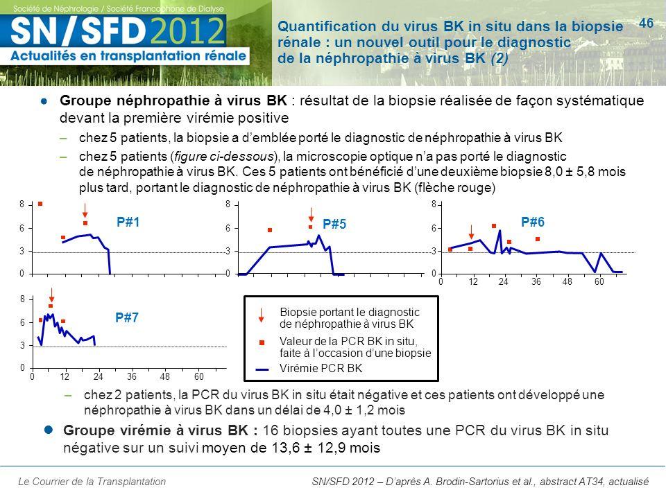 46 SN/SFD 2012 – Daprès A. Brodin-Sartorius et al., abstract AT34, actualisé Quantification du virus BK in situ dans la biopsie rénale : un nouvel out