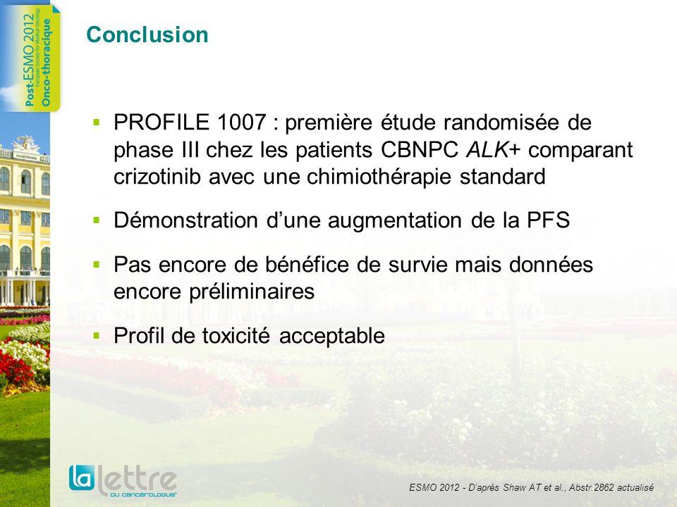 Conclusion PROFILE 1007 : première étude randomisée de phase III chez les patients CBNPC ALK+ comparant crizotinib avec une chimiothérapie standard Dé