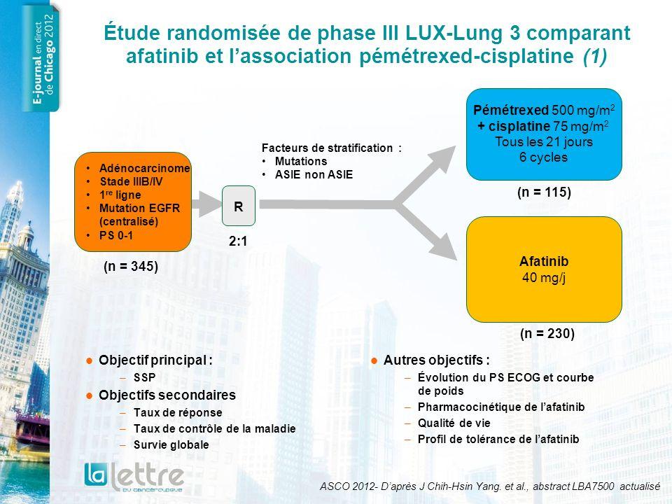 Étude randomisée de phase III LUX-Lung 3 comparant afatinib et lassociation pémétrexed-cisplatine (2) ASCO 2012- Daprès J Chih-Hsin Yang.