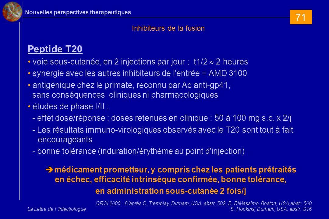 Nouvelles perspectives thérapeutiques La Lettre de l Infectiologue Inhibiteurs de la fusion Peptide T20 voie sous-cutanée, en 2 injections par jour ; t1/2 2 heures synergie avec les autres inhibiteurs de l entrée = AMD 3100 antigénique chez le primate, reconnu par Ac anti-gp41, sans conséquences cliniques ni pharmacologiques études de phase I/II : - effet dose/réponse ; doses retenues en clinique : 50 à 100 mg s.c.