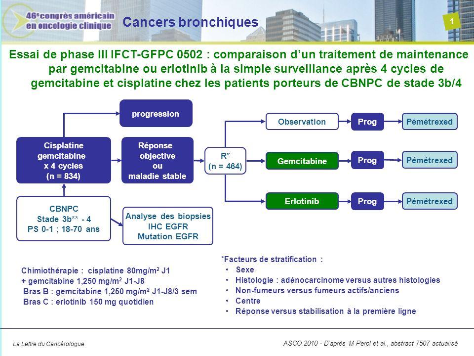 La Lettre du Cancérologue Cancers bronchiques 1 ASCO 2010 - Daprès M Perol et al., abstract 7507 actualisé Essai de phase III IFCT-GFPC 0502 : compara