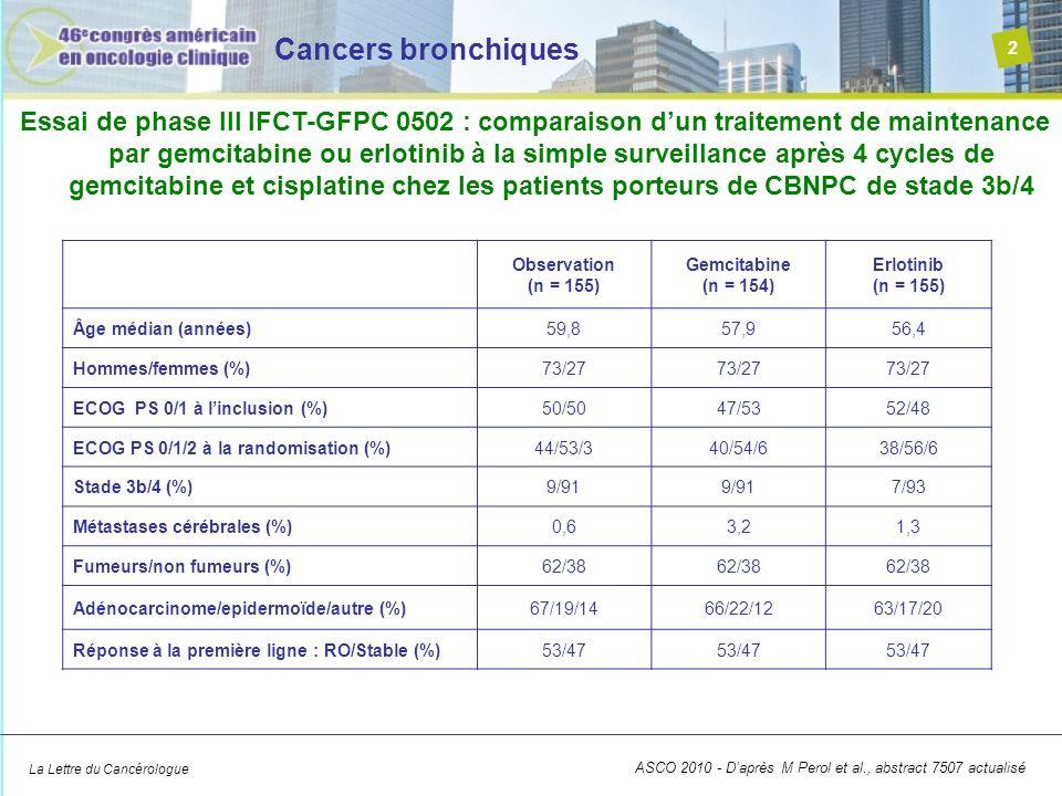 La Lettre du Cancérologue Cancers bronchiques 2 ASCO 2010 - Daprès M Perol et al., abstract 7507 actualisé Essai de phase III IFCT-GFPC 0502 : compara