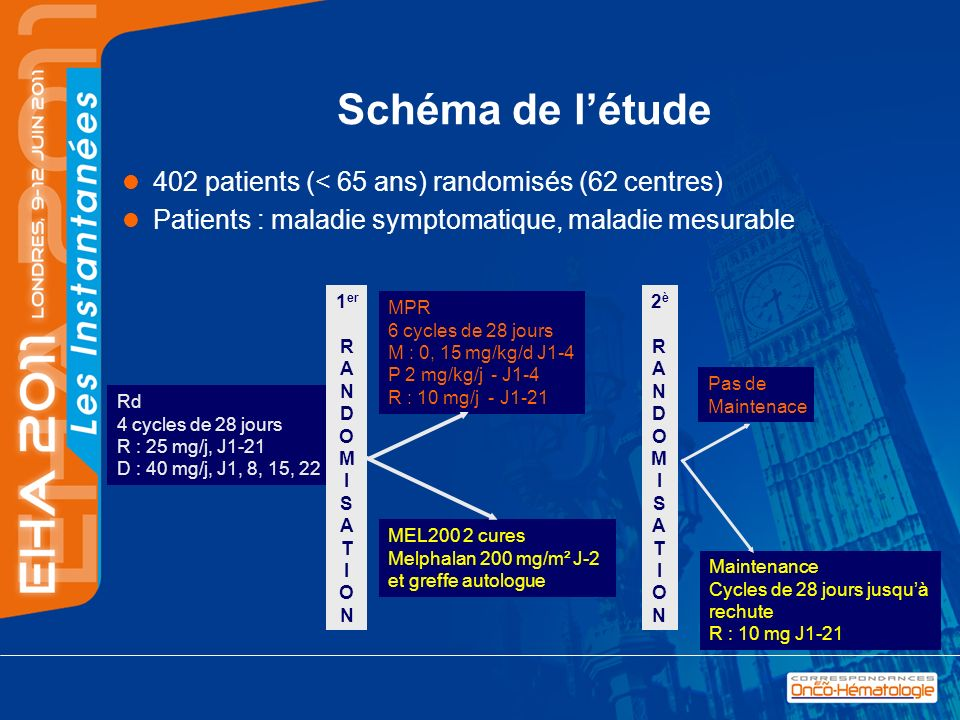 Schéma de létude 402 patients (< 65 ans) randomisés (62 centres) Patients : maladie symptomatique, maladie mesurable MPR 6 cycles de 28 jours M : 0, 1