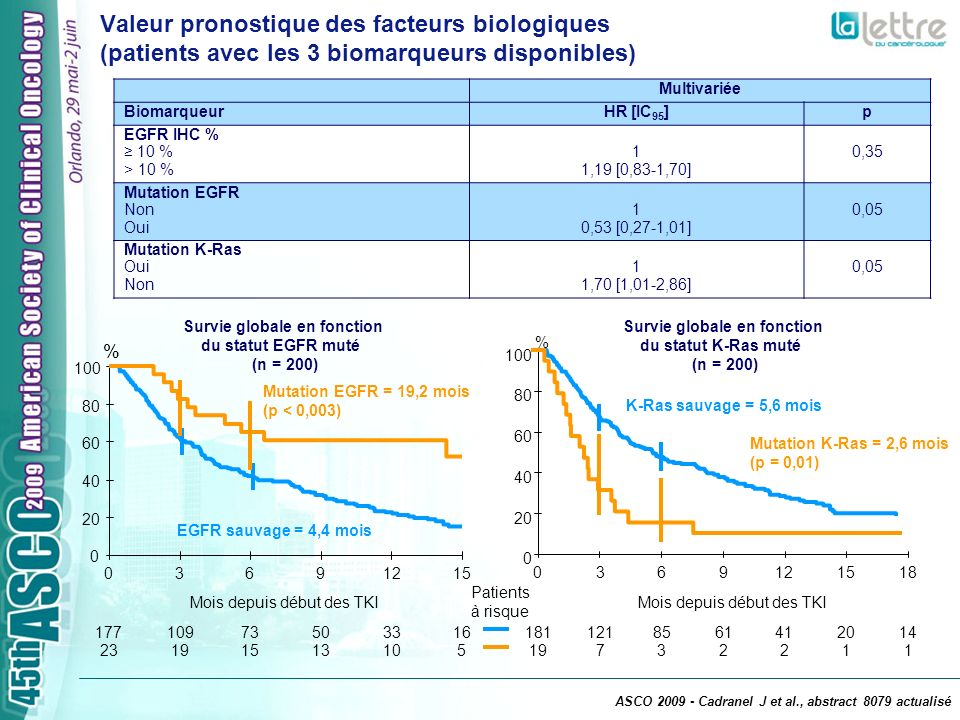 Multivariée BiomarqueurHR [IC 95 ]p EGFR IHC % 10 % > 10 % 1 1,19 [0,83-1,70] 0,35 Mutation EGFR Non Oui 1 0,53 [0,27-1,01] 0,05 Mutation K-Ras Oui No