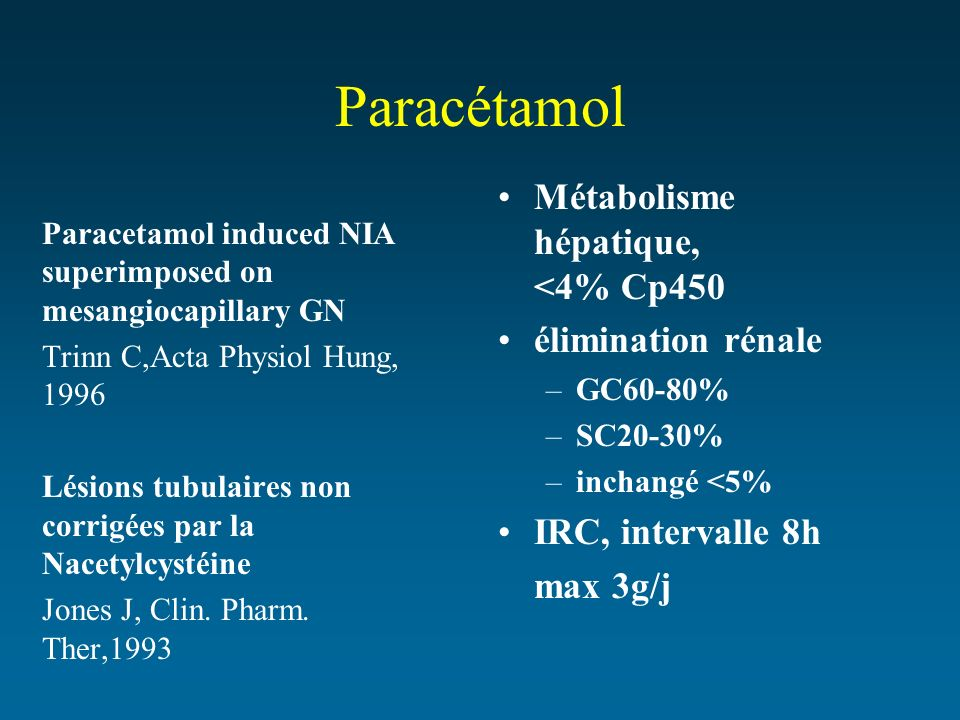 Paracétamol Paracetamol induced NIA superimposed on mesangiocapillary GN Trinn C,Acta Physiol Hung, 1996 Lésions tubulaires non corrigées par la Nacet