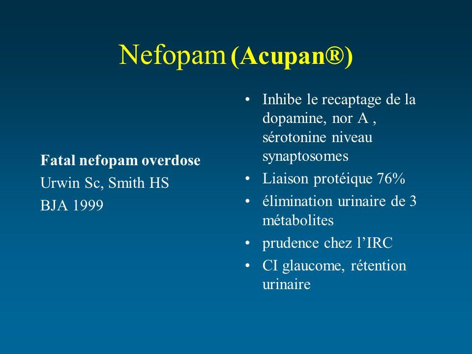 Nefopam (Acupan®) Fatal nefopam overdose Urwin Sc, Smith HS BJA 1999 Inhibe le recaptage de la dopamine, nor A, sérotonine niveau synaptosomes Liaison
