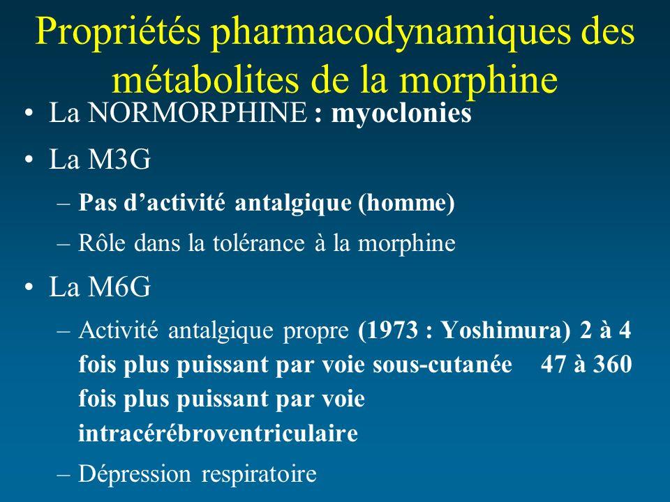Propriétés pharmacodynamiques des métabolites de la morphine La NORMORPHINE : myoclonies La M3G –Pas dactivité antalgique (homme) –Rôle dans la toléra