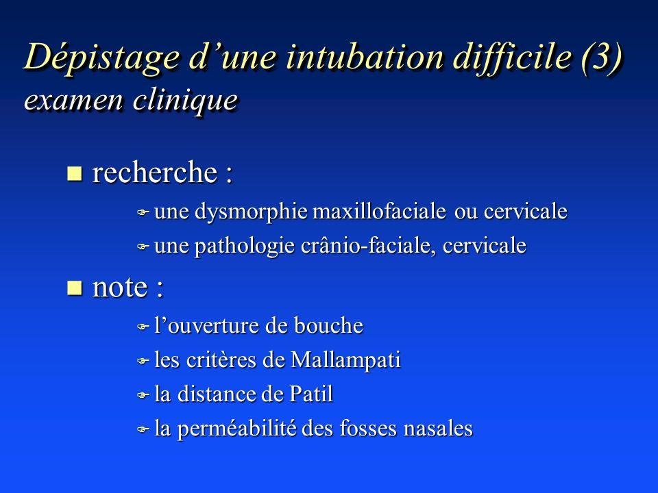 Dépistage dune intubation difficile (3) examen clinique n recherche : F une dysmorphie maxillofaciale ou cervicale F une pathologie crânio-faciale, ce
