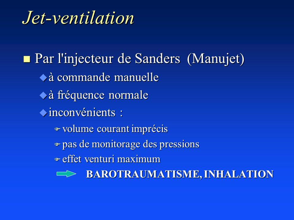 Jet-ventilation n Par l'injecteur de Sanders (Manujet) u à commande manuelle u à fréquence normale u inconvénients : F volume courant imprécis F pas d