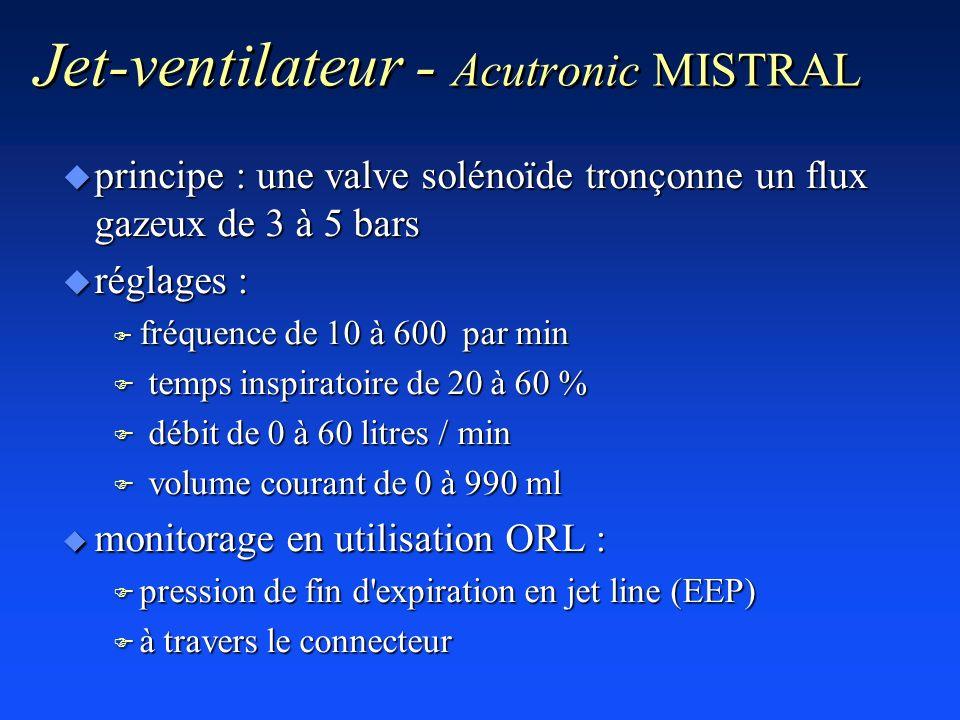 Jet-ventilateur - Acutronic MISTRAL u principe : une valve solénoïde tronçonne un flux gazeux de 3 à 5 bars u réglages : F fréquence de 10 à 600 par m