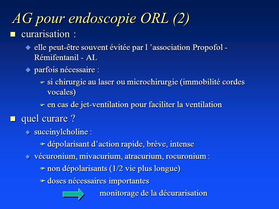 AG pour endoscopie ORL (2) n curarisation : u elle peut-être souvent évitée par l association Propofol - Rémifentanil - AL u parfois nécessaire : F si